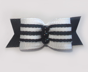 "#1237 - 5/8"" Dog Bow - Classic Black & White, Stripes"