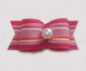 "#1247 - 5/8"" Dog Bow - Pink Stripes, Faux Pearl"