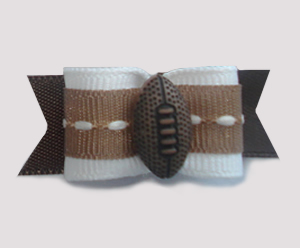 "#1273 - 5/8"" Dog Bow - Football, Brown & White"