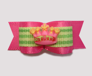 "#1281 - 5/8"" Dog Bow - Princess Crown, Hot Pink 'n Lime"