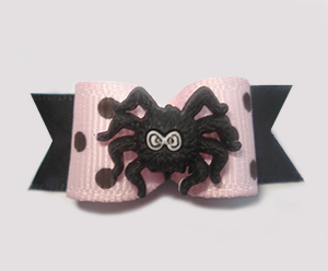 "#1314 - 5/8"" Dog Bow - Chic Spider, Dots, Pink & Black"