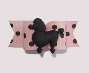 "#1319 - 5/8"" Dog Bow - Parisian Chic Poodle, Dots, Pink & Black"