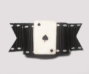 "#1320 - 5/8"" Dog Bow - Ace of Spades, Black & White"