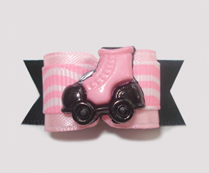 "#1338 - 5/8"" Dog Bow - Girly Rollerskate, Pink & Black"