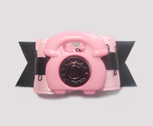 "#1341 - 5/8"" Dog Bow - Girly Phone, Pink & Black"