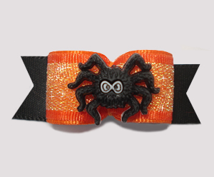 "#1349 - 5/8"" Dog Bow - Spooky Spider on Orange Shimmer & Black"