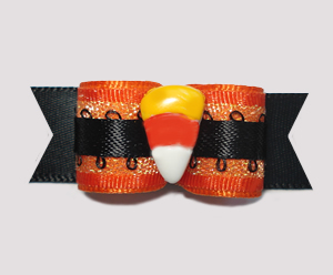 "#1350 - 5/8"" Dog Bow - Candy Corn on Shimmer, Orange & Black"