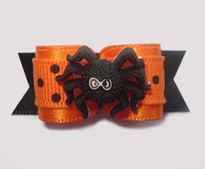 "#1373 - 5/8"" Dog Bow - Creepy Spider, Orange w/Black Polka Dots"