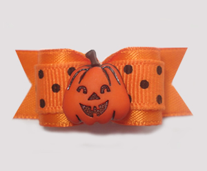 "#1394 - 5/8"" Dog Bow - Happy Pumpkin, Orange with Black Dots"
