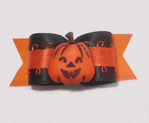 "#1395 - 5/8"" Dog Bow - Happy Pumpkin, Black & Orange"