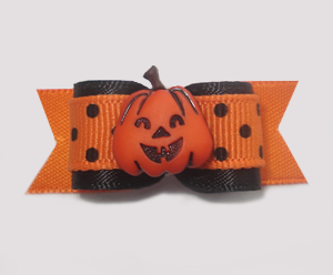 "#1398 - 5/8"" Dog Bow - Cute Fun Pumpkin, Orange & Black, Dots"