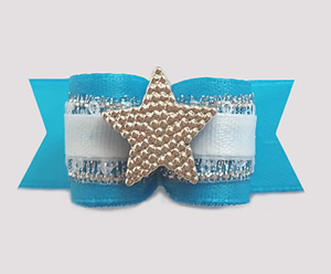 "#1410 - 5/8"" Dog Bow - Gorgeous Blue, Shimmer, Silver Star"