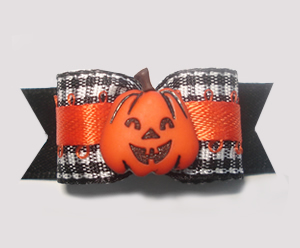 "#1409 - 5/8"" Dog Bow - Adorable Pumpkin, Black & White Gingham"