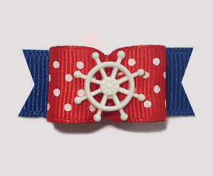 "#1413 - 5/8"" Dog Bow - Nautical, Red, White Dots & Blue"