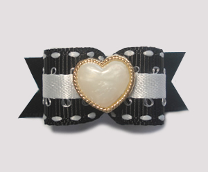 "#1422 - 5/8"" Dog Bow - Fancy Ivory Heart in Gold, Black & White"