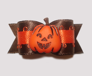 "#1427 - 5/8"" Dog Bow - Lovely Brown Satin with Orange Pumpkin"