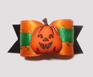 "#1428 - 5/8"" Dog Bow - Cute Pumpkin, Orange Green & Black"