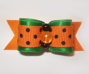 "#1431 - 5/8"" Dog Bow - Autumn Bow, Green & Orange w/Black Dots"