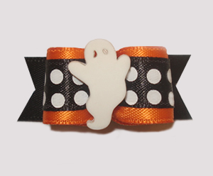 "#1432 - 5/8"" Dog Bow - Mod Ghost, Orange & Black, Bold Dots"