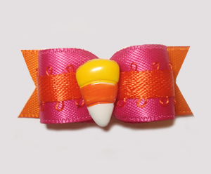 "#1433 - 5/8"" Dog Bow - Cool Candy Corn, Hot Pink & Orange"