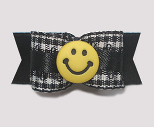 "#1453 - 5/8"" Dog Bow - Black & White Gingham w/Yellow Smiley"