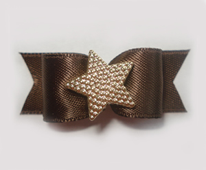 "#1455 - 5/8"" Dog Bow - Beautiful Classic Brown Satin, Gold Star"