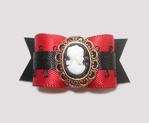 "#1457 - 5/8"" Dog Bow - Victorian, Red & Black, Cameo"