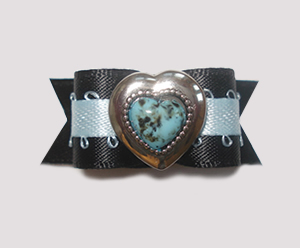 "#1459 - 5/8"" Dog Bow - Unique Blue Heart, Blue & Black"