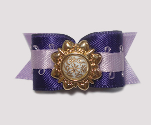 "#1461 - 5/8"" Dog Bow - Fancy Victorian, Purple & Lilac"