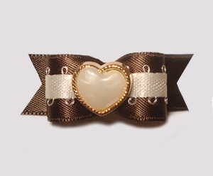 "#1464 - 5/8"" Dog Bow - Fancy Ivory Heart in Gold, Brown Satin"