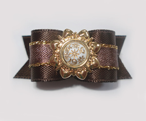 "#1466 - 5/8"" Dog Bow - Fancy Victorian, Brown & Gold"