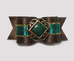 "#1467 - 5/8"" Dog Bow - Fancy Victorian, Brown, Green & Gold"