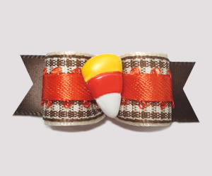 "#1477 - 5/8"" Dog Bow - Candy Corn, Brown/White Gingham w/Orange"