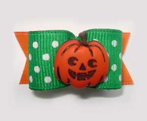 "#1480 - 5/8"" Dog Bow - Cute Pumpkin, Green Polka Dots & Orange"