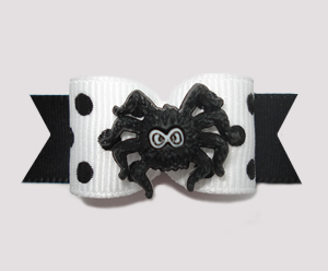 "#1482 - 5/8"" Dog Bow - Chic Spider, Black & White, Dots"