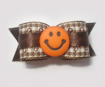 "#1486 - 5/8"" Dog Bow - Brown & White Gingham w/Orange Smiley"