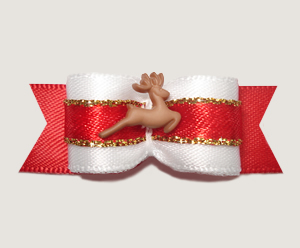 "#1490 - 5/8"" Dog Bow - Elegant Reindeer, Red, White & Gold"