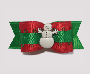 "#1492 - 5/8"" Dog Bow - Happy Snowman, Red & Green"