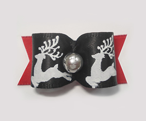 "#1493 - 5/8"" Dog Bow -Beautiful Reindeer, Black & White w/Red"