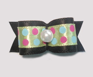 "#1496 - 5/8"" Dog Bow - Bold Dots, Soft Green w/Dots & Black"