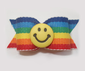 "#1501 - 5/8"" Dog Bow - Custom - Fun Smiley Face, Bold Stripes"