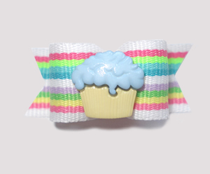 "#1504 - 5/8"" Dog Bow - Sweet Little Cupcake, Pastel Stripes"