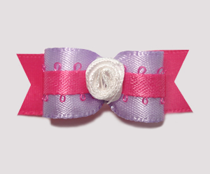 "#1506 - 5/8"" Dog Bow - Sweet Lavender with Pink, Rosette"