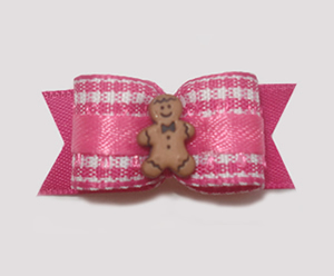 "#1509 - 5/8"" Dog Bow - Girly Gingerbread, Pink & White Gingham"