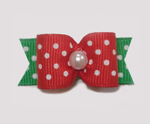 "#1512 - 5/8"" Dog Bow - Festive Dots, Red & Green, Faux Pearl"