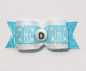"#1513- 5/8"" Dog Bow - Custom - Lt Blue Dots - Choose Your Letter"