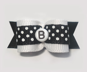 "#1515 - 5/8"" Dog Bow - Custom - Black Dots - Choose Your Letter"