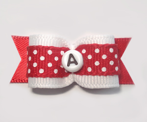 "#1516 - 5/8"" Dog Bow - Custom - Red Dots - Choose Your Letter"