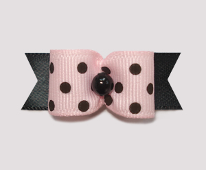 "#1517 - 5/8"" Dog Bow - Chic & Trendy Pink & Black, Dots"