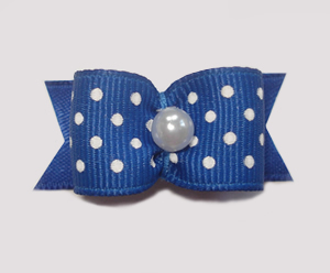 "#1519 - 5/8"" Dog Bow - Blue & White Swiss Dots, Pearl"